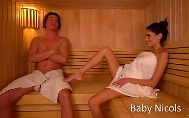 Sextractive old hat modern Baby Nicols gets her pussy licked and fucked in the sauna