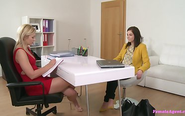 Office coition by way of the job audition with two attractive girls