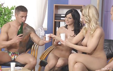 Yoke horny couples playing jollity and having group sex on the floor