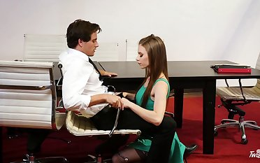 Office sex with sob sister Anya Olsen in stockings and her boss
