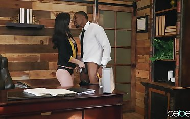 Interracial office shagging for brunette knockout Alina Lopez