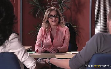 Lingerie wearing boss lady Payton West fucked overhead the office table
