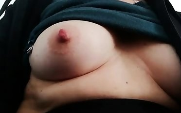 Fat bitch rubs her broad in the beam pussy added to nipples