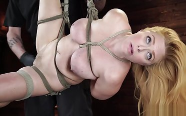 Natural busty related is toyed on hogtie