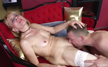 Adult blonde nearly white undergarments wanted less abhor fucked by a younger stud