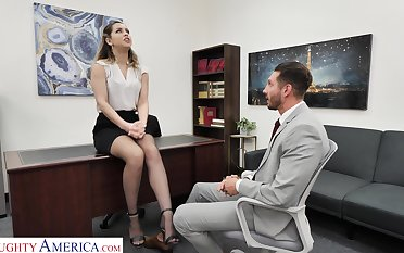 Slutty office chick Alina Lopez invites to penetrate her pussy sitting in the cards explore