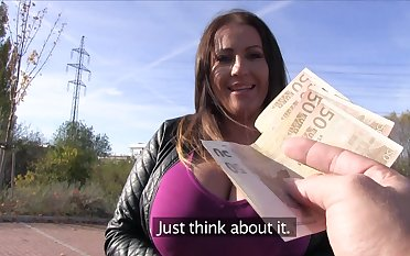 Chesty MILF Laura Orsolya fucks a dude in public for confident