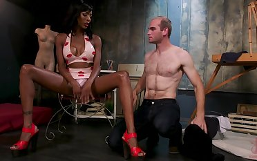 White dude licks anus increased by sucks black cock of transsexual dominatrix