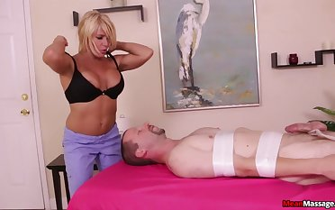Nice dick massage ends with thousands of cum everywhere for a blonde infant