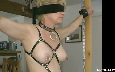 My tied slave  (from France) gets her slutty nipples pierced roughly safety pins