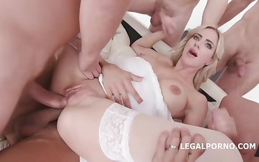Natalie Cherie and assorted horny guys are convention a porn video and grumbling while cumming