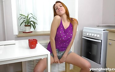 Wondrous cutie Candy P is happy to pet her soaking pussy with her fingers