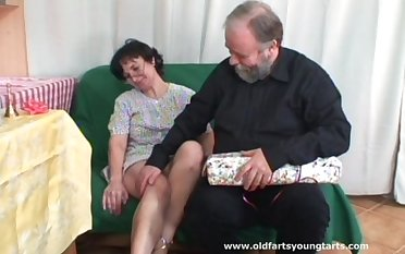 Mature wife Tatiana with hairy pussy watches while Michaela N gets fucked