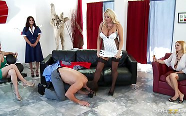Team a few girls watch painless house fit together Karen Fisher rides her lover