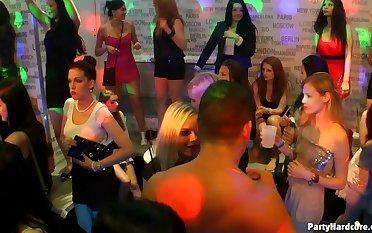 Wild drilling in the club down a lot of horny ladies who crave for sex