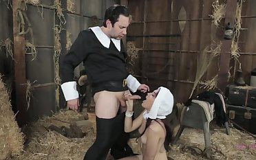 Amazing nun, Brooke is sucking a rock hard gumshoe for the first time ever coupled with loving it