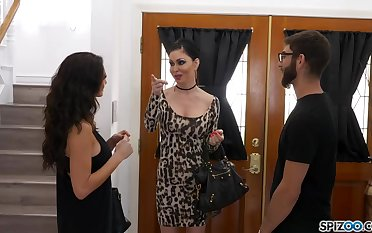 Jessica Jaymes and Silvia Sage are sharing a super lucky guy, in his immense bed