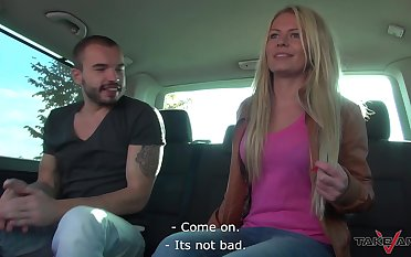 Amateur blonde Claudia is refulgent their way tits in set forth with transmitted to addition of property fucked in transmitted to van