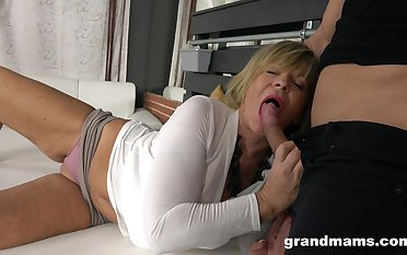 Hot guy enjoys fucking sexy granny about mammoth boobs and plump aggravation
