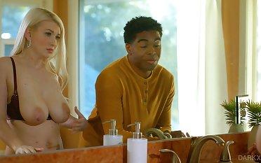 Black husband enjoys big soft boobies of characterless wifey Emily Wright
