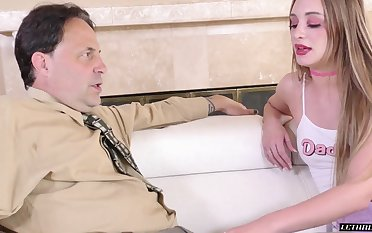 Young promiscuous woman gives her stepdad's cock a handful of at bottom a handful of attention