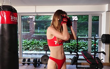 Busty fitness buff Milla masturbates after a sexy workout