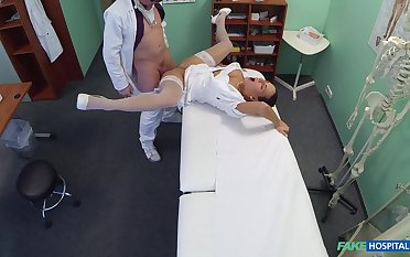 Doctor's exam square fuck for formidable nurse Mea Melone