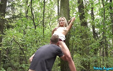 POV sex into the woods that being the case bony Czech teen