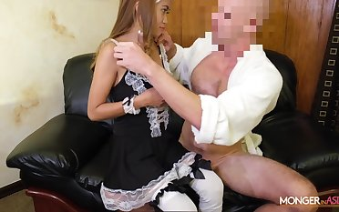 Asian escort Jennie puts on sexy sheila uniform and gets fucked unconnected with horny tourist