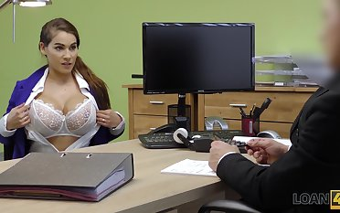 Ample breasted babe Mischel gives a blowjob added to gets fucked for loan