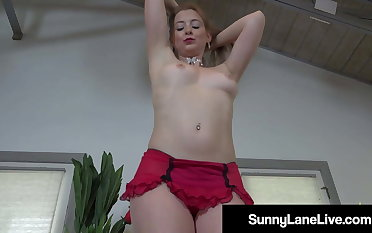 Red Heeled Red Lipstick Wearing Sunny Lane Loves The brush Pussy!