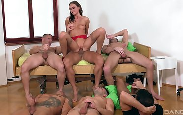Tina Kay is put emphasize center of attention during awesome gangbang fuck
