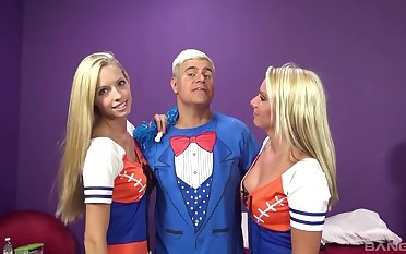Fab foursome of hot cheerleaders Brooke Logan and Cherry Morgan