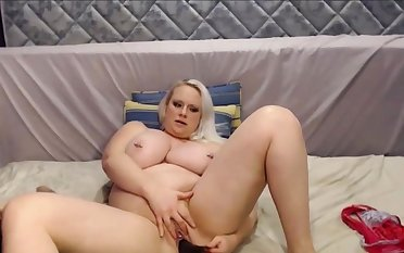 Beamy and Beautiful Blond Girl With Strapping Tits Squirting