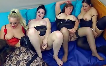 Some awesome lesbian orgy featuring nasty big women