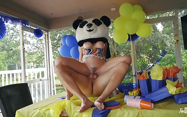 Party MILF gets the huge Panda bear's locate inside her ass