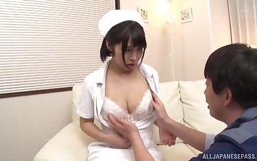 Natural boobs Japanese nurse takes elsewhere her uniform to shot sex