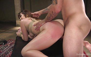 Hot Alison Rey submits during amazing bondage fuck session
