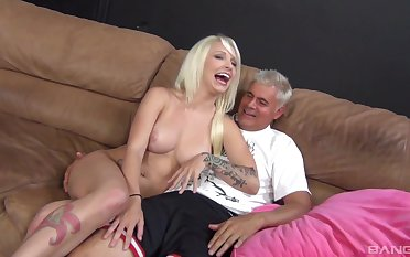 Smooth fucking on the leather sofa with shove around model Stevia Shae