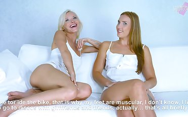 Hot cement of two beautiful lesbian actresses