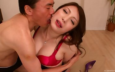 Japanese cutie Ria Kotone gives a rimjob and gets fucked good
