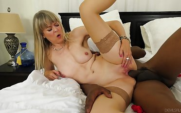 Hot grown up smashes huge black dick in both will not hear of pink holes