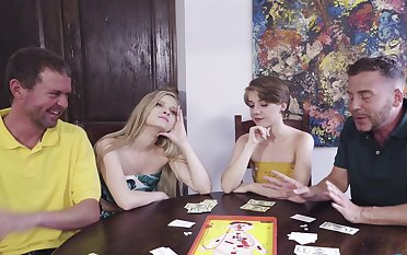 Poker night foursome with sexy chicks Harlow West and Dakota Burns
