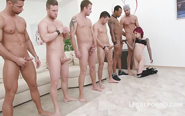 Anal Orgy With Russian Teen. Seven Guys Against Her Poor Ass