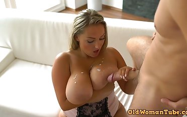 Blonde Czech mother with big naturals & big ass gets cum chiefly tits after good PAWG