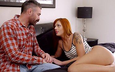 Pretty redhead Scarlett Mae has a blast nearby a fat dig up