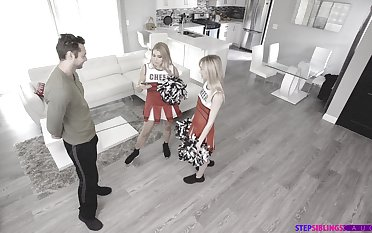 Naughty cheerleaders Mackenzie Moss and Nikki Squeal have a troika