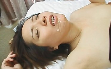 Passionate fucking ends with a facial for a cute Japanese babe